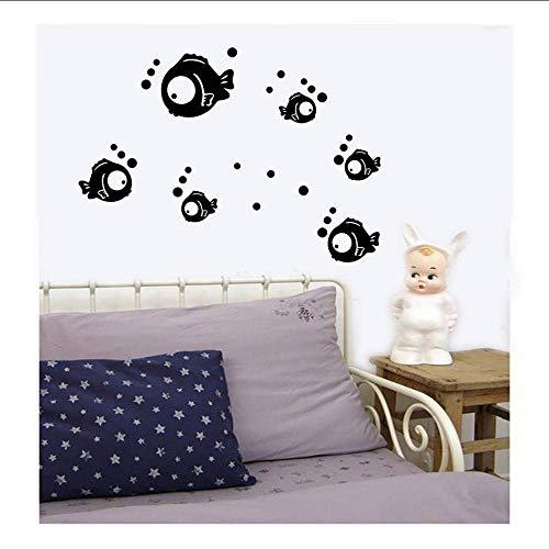 43X56Cm Etiqueta De La Pared Teléfono Móvil Lindo Pez De Dibujos Animados Etiqueta Engomada De La Burbuja Decorativa De La Pared De La Ventana Etiqueta De La Pared Decorativa