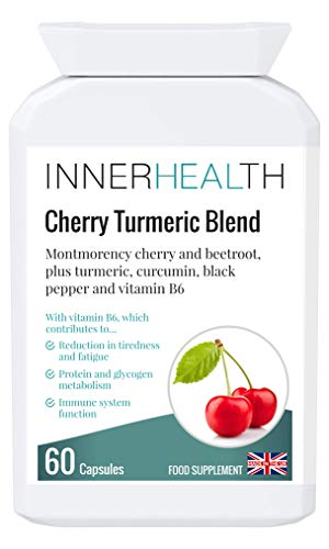 Premium UK Made Cherry Turmeric Blend 4500mg - Antioxidant Supplement for Oxidative Stress Linked to Cancer, Ageing, Vision, Memory, Kidney Support, Fatigue & Hormone Activity. 60 Vegan Capsules.