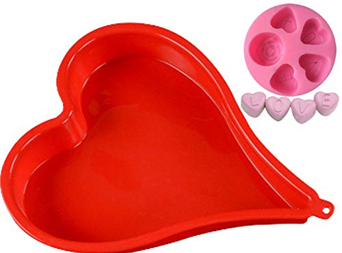 Silicone Cake Pan(8-inch Heart Shaped) and 3D Mold(Mini LOVE Rose), Baking Bakeware Tray for Romantic Day, Make for Pie, Tart & Quiche, and Cake Topper, Decorating, Fondant, Chocolate, Candle; 7AX2