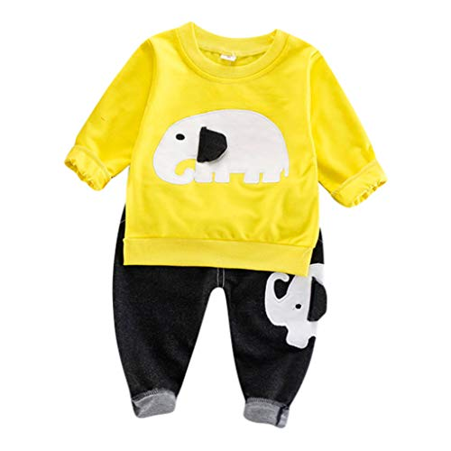 sunnymi Set Enfants, T-Shirt à Manches Longues pour Enfant Éléphant Cartoon Bébé garçon - Ensemble de mélange de Coton