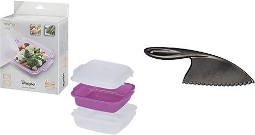 Whirlpool STM008–Accessoire de cuisson pour Micro-ondes (cuiseur vapeur, Violet, Blanc, Blanc) & CUT001 Couteau Mal...