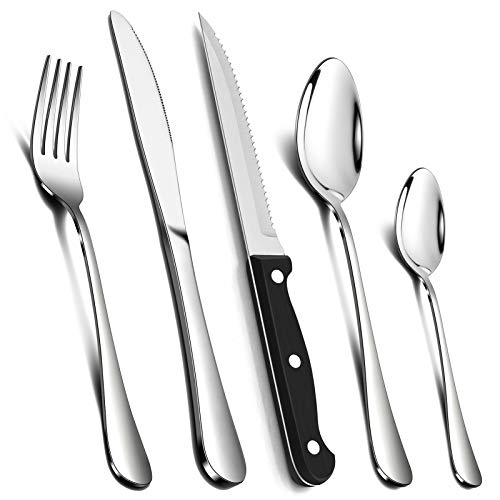24 Piece Cutlery Sets with 6 Piece Steak Knives, Homikit Stainless Steel 30-Piece Silver Cutlery Flatware Set, Dinnerware Fork Knife Spoon Set Service for 6, Mirror Finished & Dishwasher Safe