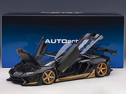 Lamborghini Aventador Liberty Walk LB-Works Gloss Black with Gold Accents Limited Edition 1/18 Model Car by Autoart 79184