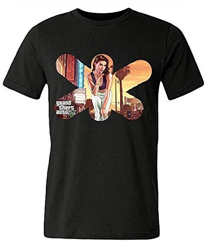Mlsker Men T Shirts New, Grand Theft Auto V (GTA 5) Game Crew Neck Blackt-Shirt (Size:M