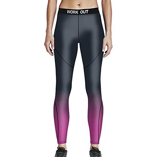VWU Damen Ladies Große Mädchen Workout Gedruckt Printed Leggings Gym Sport Laufen Laufhose Yoga Leggins Fitness Gewehr S-4XL (XXXL,...