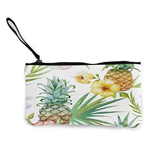 Monedero de piña y flores, bolsa de lona para cambiar, bolsa de moda linda cartera pequeña con cremallera para ir de compras actividades al aire libre