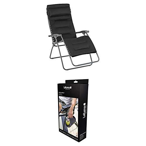 Lafuma Großer Relax-Liegestuhl, Klappbar und verstellbar, RSX Clip XL, Air Comfort, Acier (Anthrazit), LFM2041-8718 + Getränkehalter, Anthrazit, LFM2837-1229