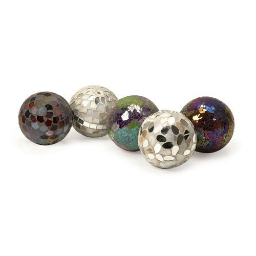 IMAX 1994-5 Abbot Mosaic Deco Balls - Set of 5 Ball Sculpture Figurines as Decorative Accessories for Parties, Banquet Halls, Reception Areas. Craft Supplies