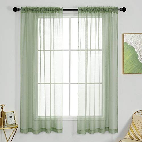 DUALIFE Sage Green Curtains for Bedroom and Living Room Voile Solid Sheer Panels Drapes with Rod Pocket for Girls Kids Room Light Filtering 52 Wide by 63 Inch Length 2 Panels Light Green