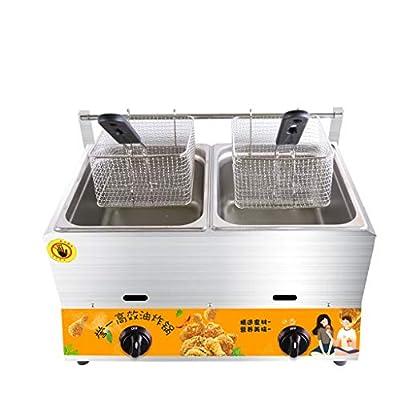 D@ Gaz Naturel Friteuse Profonde,Grande Capacité 20 litres gastronomie Friteuse gaz,deux cuves peuvent être utilisées séparément,professionnelle friteuse à beignets