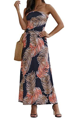 Ancapelion Damen Blumenmuster Maxikleid Langes Kleider Bandeau Kleid Böhmen Sommerkleid Trägerloses Strandkleid Elegante Abendkleid, Mehrfarbig-1, XL(EU 46-48)