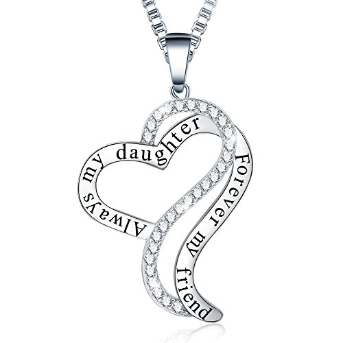 Ado Glo Birthday Gifts for Her, Always My Daughter Forever My Friend Love Heart Pendant Necklace,...