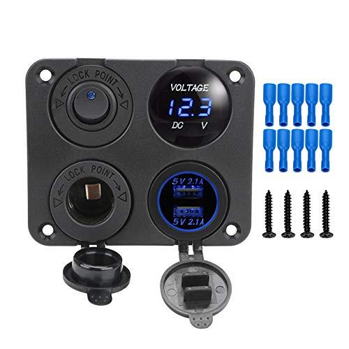 ZHIXIANG 4 en 1 Panel de interruptores Impermeable Voltímetro Digital 12V Power Car Dual USB Cargador Ciguero Encendedor de Cigarrillos con Interruptor de balancín (Color : B Blue)