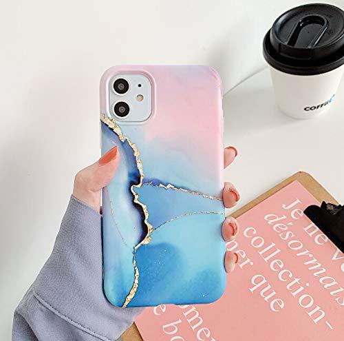 ZTOFERA - Cover posteriore in TPU per iPhone 7 Plus/iPhone 8 Plus, effetto marmo opaco, effetto acquerello, sottile e luminoso, per iPhone 7 Plus/8 Plus, colore: blu e rosa marmo