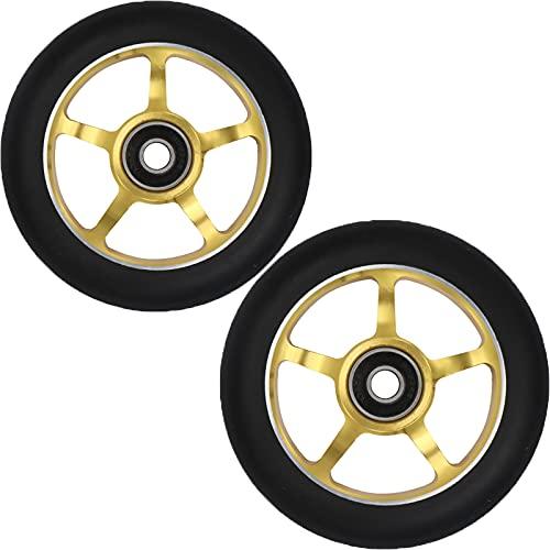 Ruedas de scooter de 100 mm - Ruedas de scooter profesional - Se adapta a la mayoría de las ruedas de repuesto de scooter de truco de acrobacias con rodamiento ABEC-9 - 24 mm x 100 mm,Black pu/yellow