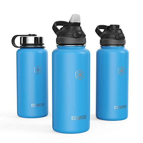 ICEWATER Insulated Water Bottle With 3 Lids (Auto-Straw&Auto-Spout Lids), 40 oz,32 oz, Stainless Steel Sports Water Bottle With Straw (32 oz, Blue)