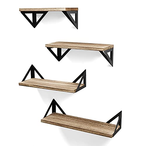 OlarHike Floating Shelves Wall Mounted, Set of 4 Rustic Wood Shelves for Wall Storage, Wall Shelves for Bedroom, Bathroom, Living Room, Kitchen Decor