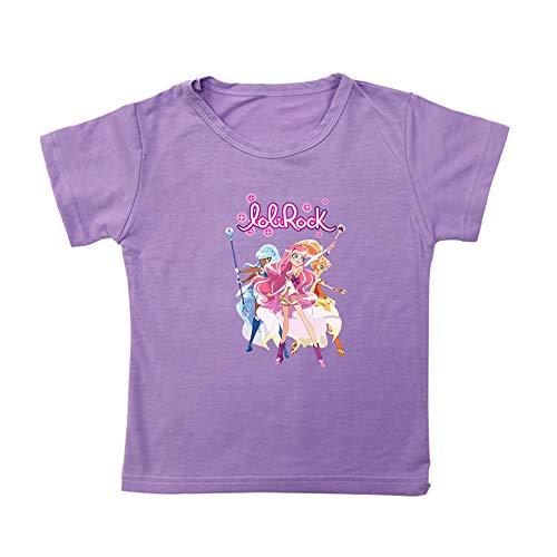 QJHDUIKO LoliRock Maglietta Breve Maglietta del Manicotto Maglietta Casuale d'avanguardia del Fumetto Stampa Tshirt for Ragazzi e Ragazze Ragazzi (Color : Purple04, Size : 150)