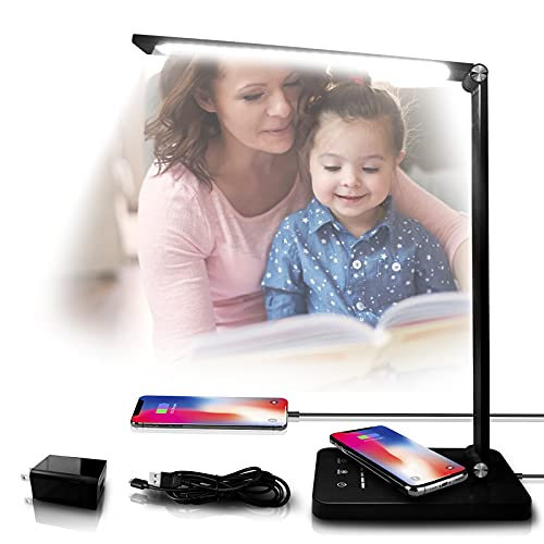 LED Desk Lamp with USB Charging Port, Desk Lamp with Wireless Charger 5 Lighting Modes and 5...