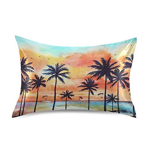 Naivey Satin Pillowcase for Hair and Skin Watercolor Beach Palm Tree Silk Pillowcase with Zipper Slip Pillowcase Silk Standard Size Pillow Cases Pillowcases 20x26in