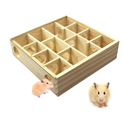 Hkim Hamster Maze, Meago Natural Wood Toy with Acrylic Cover Dwarf Mouse Cage Tubes Gerbil Maze for Small Furry Animals (Wood Maze)