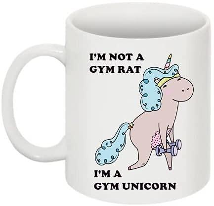 Taza de café con diseño de unicornio con texto en inglés 'I'm Not A Gym Rat I'm A Gym', de porcelana, regalo para vacaciones, como Navidad, Halloween, Acción de Gracias
