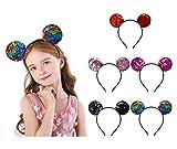Carnavalife 5pcs Diadema Brillante de Orejas de Mouse Ratón Minnie y Mickey , Cinta de Lentejuelas para Disfraz de Cosplay, Accesorios de DIY para Cumpleaños, Decoración de Fiesta