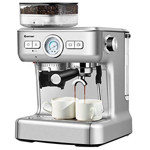 COSTWAY Macchina da Caffè Automatica Espresso e Cappuccino, per Macinato e Cialde, Controllo Temperatura, Serbatoio Acqua 2 L, Acciaio INOX