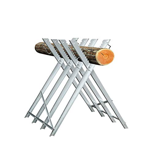 Hengda Sägebock Metall 80x81x80cm verzinkt 150kg Belastbarkeit Sägegestell Holzsägebock Säge Kettensägebock Holzbock für verschiedene Stammstärken