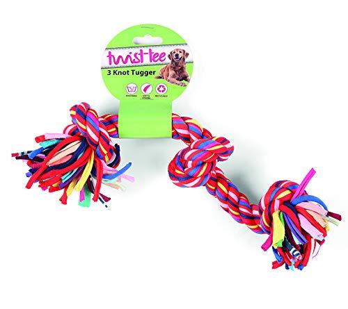 Twist-Tee recyclé 3 Nœud Coton Dog Tugger Jouet, par Happy pour Animal Domestique