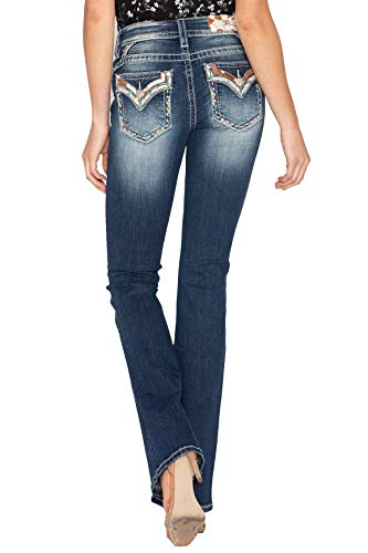 Miss Me Cow Hide Flap Yoke Trim Bootcut Jeans in Dark Blue Dark Blue 30 32
