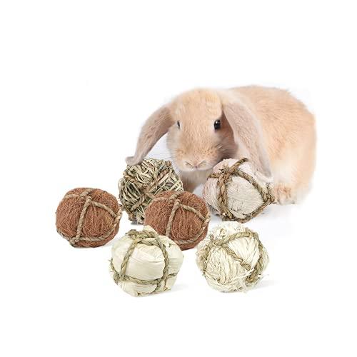 Giocattoli per Conigli Criceto Coniglietto Giocattoli da masticare Piccoli Animali Giocattoli Naturali 6 Pezzi Palla d'erba Palle di Rattan Palla d'erba Intrecciata Giocattolo per La Cura Dei Denti