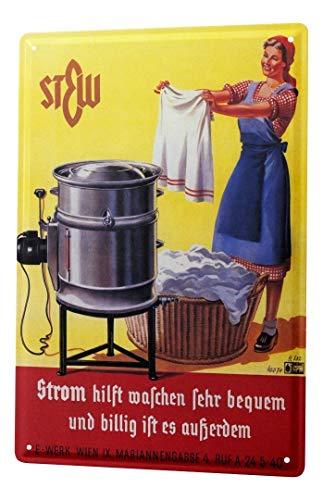 LEotiE SINCE 2004 Blechschild Dekoschild Küche Garage Nostalgie Wand Deko Schild Waschmaschine Wäschekorb Strom Werbung 20X30 cm