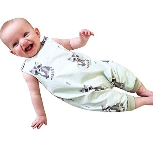 Infant Toddlers Baby Enfants Animaux sans Manches Imprimé Tenue de Barboteuse Vêtements Combinaison Romper Jumpsuit (Menthe Verte 0-18 Mois)