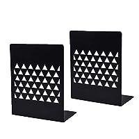 WAFJAMF ブックエンド 高耐久 装飾メタルブックエンド 棚 図書館 キッチン 家庭 学校 オフィス ユニークな幾何学デザイン (1ペア/2個)