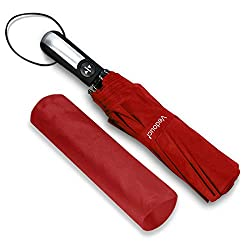 Vedouci Folding Umbrella 10 Ribs Compact Travel Umbrella with Teflon Coating, Automatic Umbrellas Anti UV Coating Folding Umbrellas