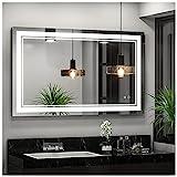 Keonjinn 40 x 24 Inch LED Bathroom Mirror LED Vanity Mirror, Wall Mounted Anti-Fog Dimmable Lights Makeup Mirror (Horizontal/Vertical)