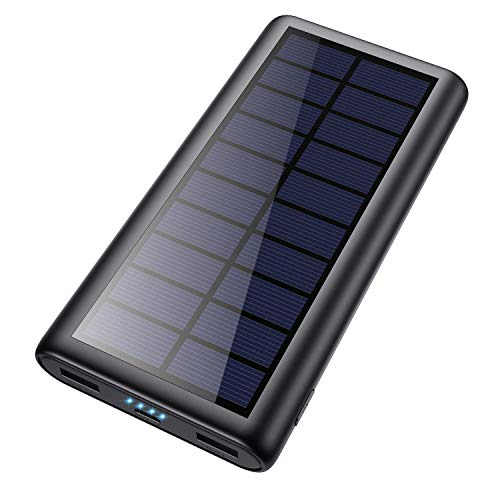 Solar Charger 26800mAh Portable Solar Power Bank with 4 LEDs and 2 USB Output Ports External Battery Pack for Outdoor Camping for Smartphone, Andriod Phone and Teblet