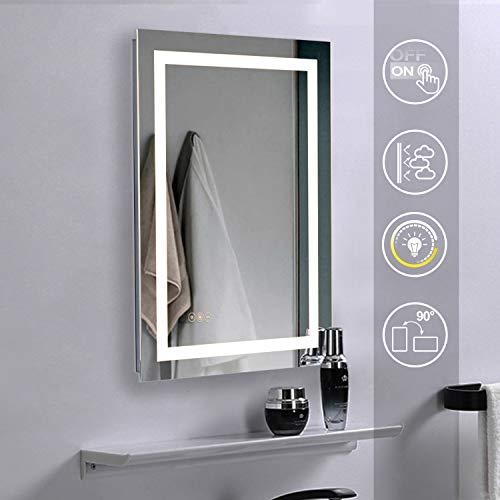 Qucover Badezimmerspiegel Badspiegel mit LED Beleuchtung Wandspiegel für Badezimmer mit Touchschalter Lichtspiegel 50 x 70 cm Beschlagfrei dimmbares Licht IP44 Warmweiß