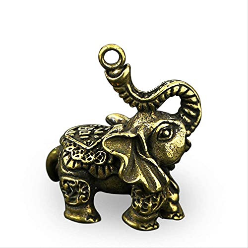 LIjiMY Mini Lindo Vintage De Latón Escultura Estatua Retro Lindo Puro Cobre Elefante Llavero Colgante Colgante Creativo Ornamento Pequeño Regalo