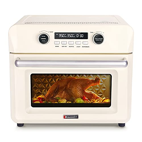 Hauswirt 26Qt Digital Air Fryer Convection Oven, Dehydrator Oilless Cooker With Separate Upper and Lower Heat Control For Air Fry, Bake, Dehydrate, Ferment, Roast, Rotisserie - Retro Cream White