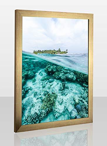 Montecarlo Deluxe Slimline Bilderrahmen Posterrahmen 60x100 cm Gold Glanz 100x60 cm mit weissem Hintergrund und klarem Kunstglas