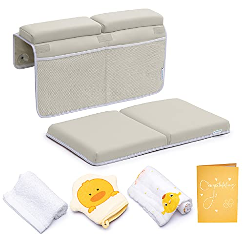Bath Kneeler with Elbow Rest Pad Set, 1.75 inch Thick Kneeling Pad and Elbow Support for Knee Arm Support, Large Bathtub Kneeling Mat with Toy Organizer for Happy Baby Bathing Time, Beige
