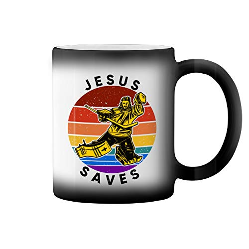 Retro Jesus Saves Hockey Lover Taza de caf negro mgico