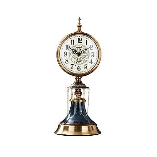 bdb Decoración De Cerámica Reloj De Chimenea Silencio Reloj De Mesa Cobre Retro Reloj Regalo De Dormitorio De Decoración (Color : Metallic)