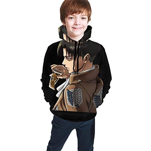 Hidend Kinder Kapuzenpullover Sweatshirt, Levi Comfortable Teen Hooded Sweater Black