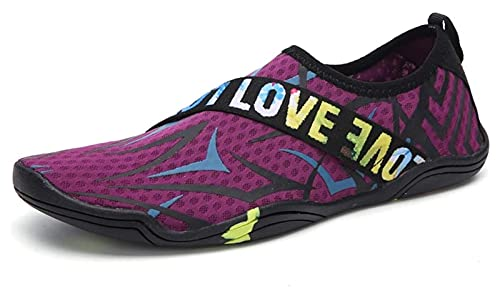 ZKDY Zapatos de Agua para Mujer Secado rápido al Aire Libre Antideslizante Buceo de Buceo Zapatos de Playa Calcetines de Agua Zapatos de Playa (Color : Purple, Size : 37 EU)