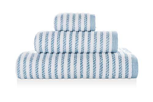 Newyork - Juego de Toallas (30 x 50 x 100 x 70 x 140 cm), Color Blanco y Azul