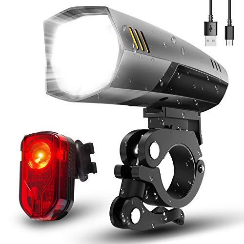 LIFEBEE Fahrradlicht, Led Fahrradlicht Set Fahrradbeleuchtung USB Fahrradlicht Vorne Rücklicht Fahrradlampe Led Set, Wasserdicht Fahrrad Licht mit 2 Licht-Modi für Mountainbike (Gray)