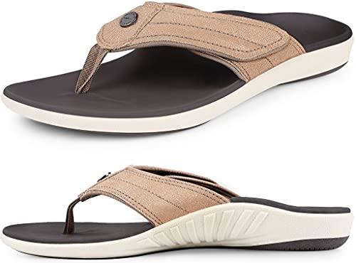 Womens Leather Strap Flip Flops with Arch Support, Plantar Fasciitis Orthotics Sandals, Non-Slip Casual Flip-Flops, Metallic Bronze, 9